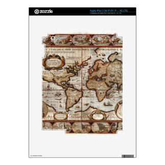 1499 World Map w The Americas device protector iPad 3 Decal