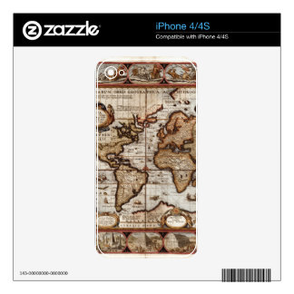 1499 World Map w The Americas device protector Decals For The iPhone 4