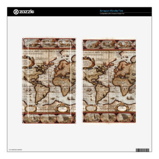 1499 World Map w The Americas device protector Skins For Kindle Fire