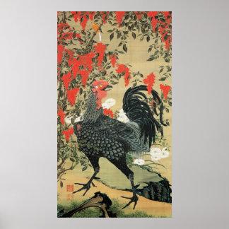 14. 南天雄鶏図, 若冲 Red Nuts and Rooster, Jakuchu Poster