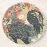 14. 南天雄鶏図, nueces y gallo rojos, Jakuchu del 若冲 Posavasos Personalizados
