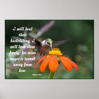 14:4 floral de Hosea de la flor del pájaro del Póster