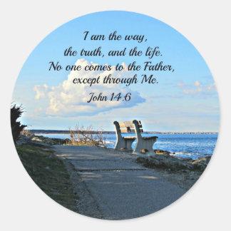 14:6 de Juan soy la manera… Pegatina Redonda