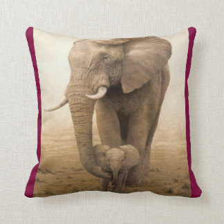 #14-Afican Elephant-cow and calf Throw Pillow
