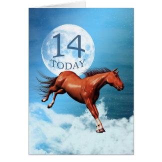 14 años de la tarjeta de cumpleaños con el caballo
