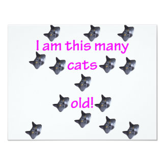 14 Cat Heads Old 4.25x5.5 Paper Invitation Card