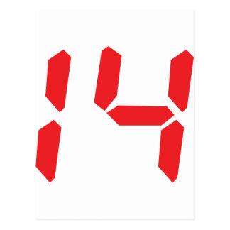 14 catorce números digitales del despertador del r tarjetas postales