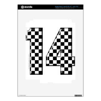 14 checkered auto racing number decal for iPad 3