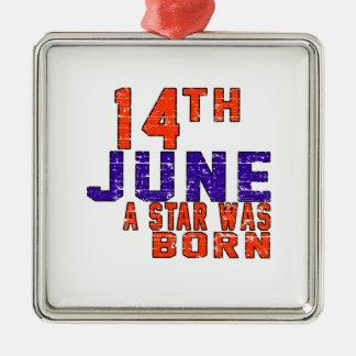 14 de junio una estrella nació adorno cuadrado plateado