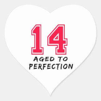 14 envejeció al diseño del cumpleaños de la calcomania corazon personalizadas