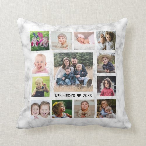 14 Family Photo Collage Create Your Own Marble Throw Pillow