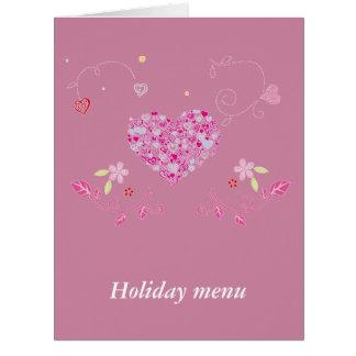 14 february : Menu for the Valentine - Card