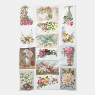 14 Floral Victorian Trade Cards Collage Towel