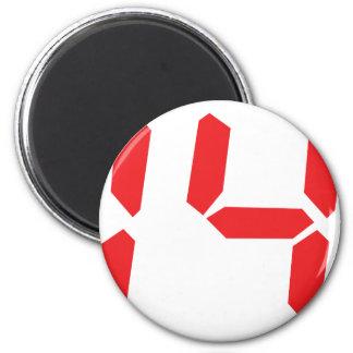 14 fourteen  red alarm clock digital number 2 inch round magnet