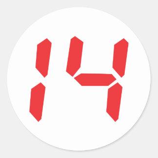 14 fourteen  red alarm clock digital number classic round sticker