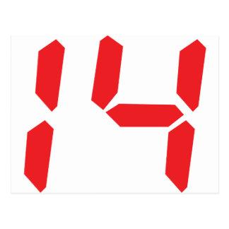 14 fourteen  red alarm clock digital number postcard