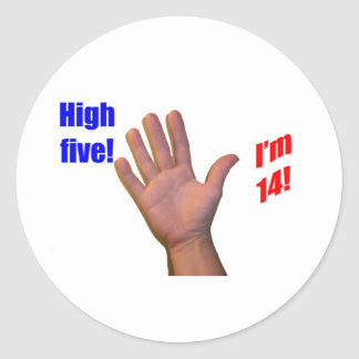 14 High Five! Classic Round Sticker