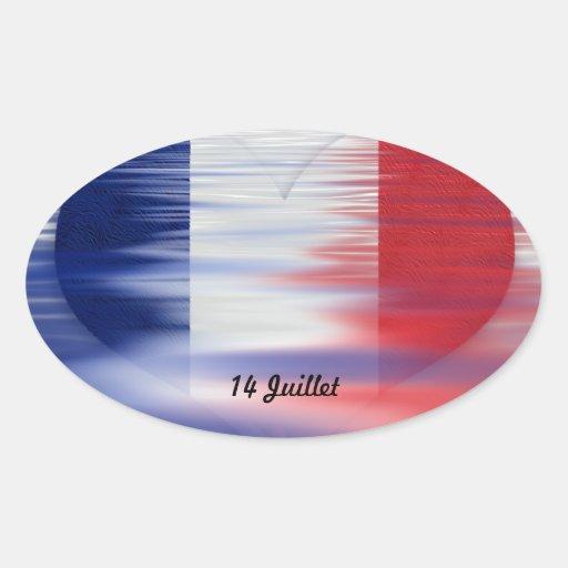 14 Juillet Fête Nationale Oval Sticker