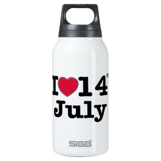 14 july my day of birthday thermos water bottle