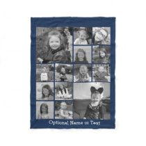 14 Photo Collage CAN EDIT blue COLOR optional text Fleece Blanket