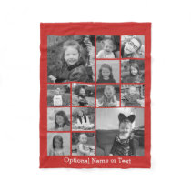 14 Photo Collage CAN EDIT red COLOR optional text Fleece Blanket