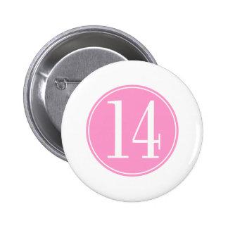 #14 Pink Circle 2 Inch Round Button