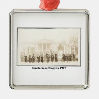 14 Suffragists, 1917 Adorno Navideño Cuadrado De Metal
