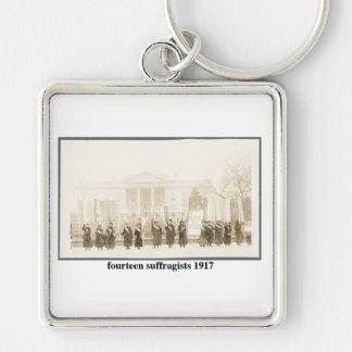 14 Suffragists, 1917 Llavero Cuadrado Plateado