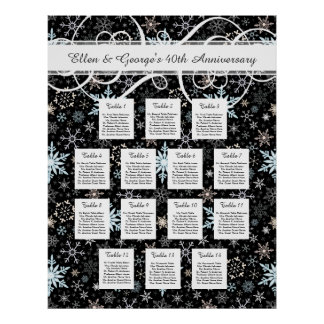 14 Table Winter Wedding Snowflake Seating Chart Poster