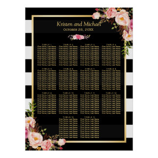 14 Tables Pink Floral Wedding Seating Chart