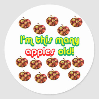 14 This Many Apples Old Classic Round Sticker