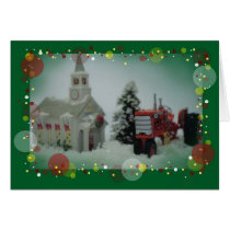 14 toy tractors at christmas card
