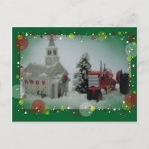 14 toy tractors at christmas holiday postcard