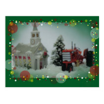 14 toy tractors at christmas postcard