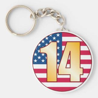 14 USA Gold Basic Round Button Keychain