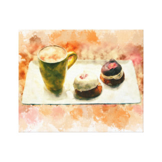 """14"""" x 11"""", 1.5"""", Watercolor coffee cup and Dessert Canvas Print"""
