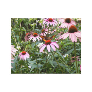 "14"" x 11"", Wrapped Canvas Photo with Pink Daisies"
