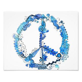 14 x azul ilustrado 11 del signo de la paz cojinete