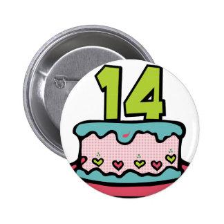 14 Year Old Birthday Cake 2 Inch Round Button