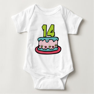 14 Year Old Birthday Cake Baby Bodysuit