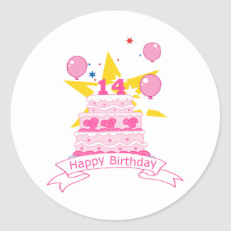 14 Year Old Birthday Cake Classic Round Sticker