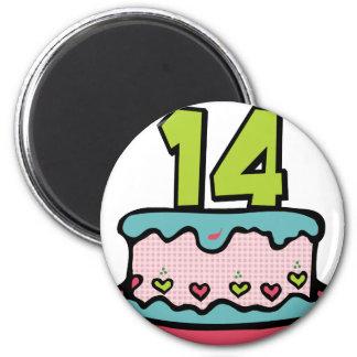 14 Year Old Birthday Cake Magnet