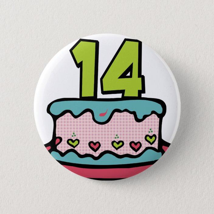 Pleasing 14 Year Old Birthday Cake Pinback Button Zazzle Com Birthday Cards Printable Inklcafe Filternl