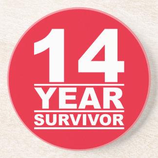14 year survivor drink coaster