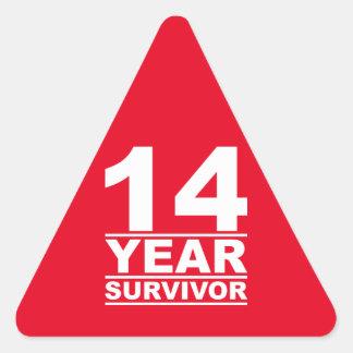 14 year survivor triangle sticker