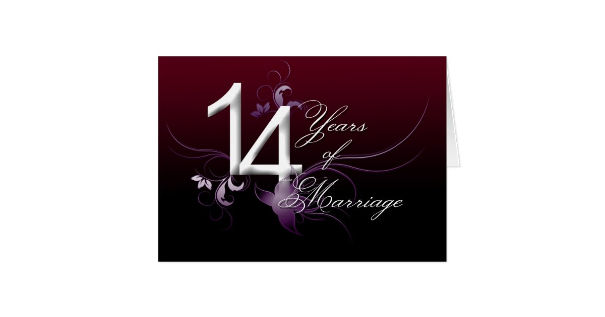 14 years of marriage wedding anniversary card zazzle