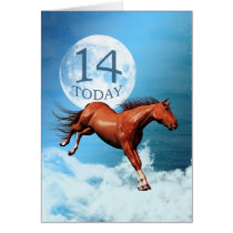 14 years old birthday card with spirit horse