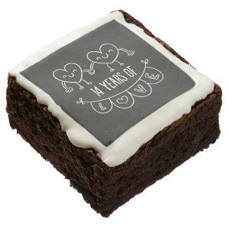 14th Anniversary Gift Chalk Hearts Chocolate Brownie