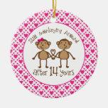 14th Anniversary Monkey Love Ornament