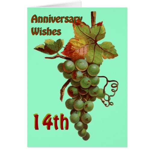 14th Anniversary wishes, customiseable Greeting Card